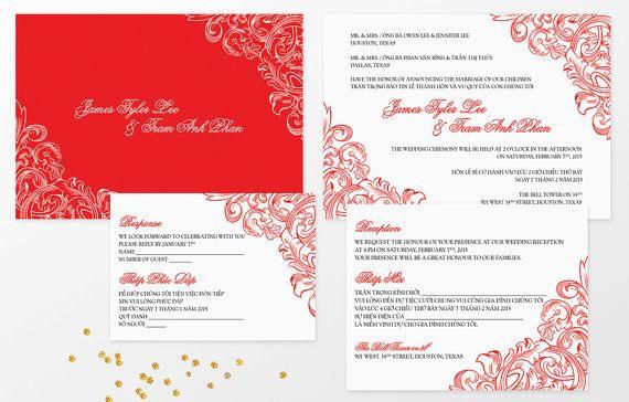 Bilingual Vietnamese Wedding Invitation Set Invitation Reception And Rsvp Do It Yourself Wedding Invitation Text Vietnamese Wedding Wedding Invitations