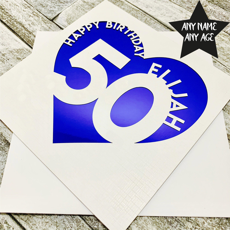 Personalised 50th Birthday Card 50th Birthday Card Fiftieth Etsy 50th Birthday Cards Birthday Cards 21st Birthday Cards