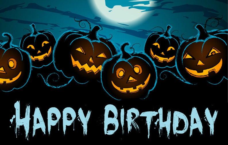 "Halloween themed ""Happy Birthday"" Backdrop banner Happy"
