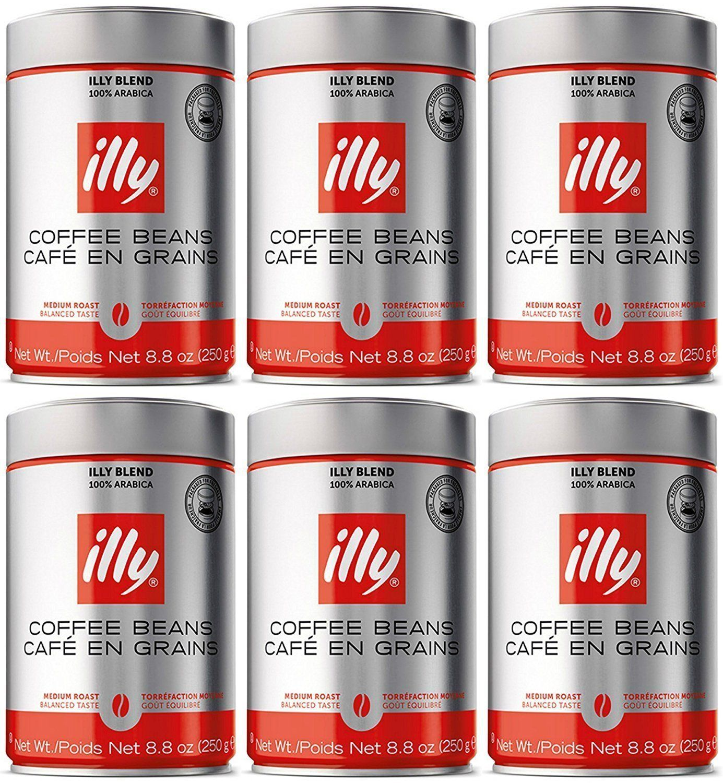 Illy Whole Bean Medium Roast Coffee 250g (6pack) Coffee