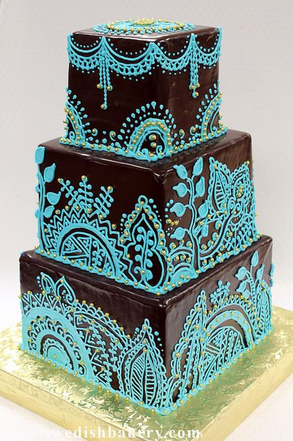 Blue Henna And Gold Dragee Wedding Cake