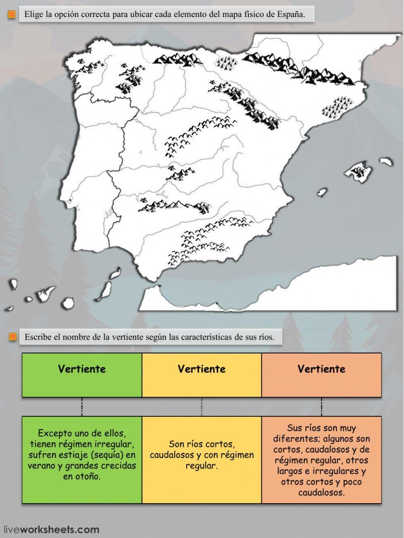 Mapa Físico De España Ficha Interactiva Y Descargable Puedes Hacer Los Ejercicios Online O Descargar La Fi Rios De España Mapa Fisico De España Relieve España