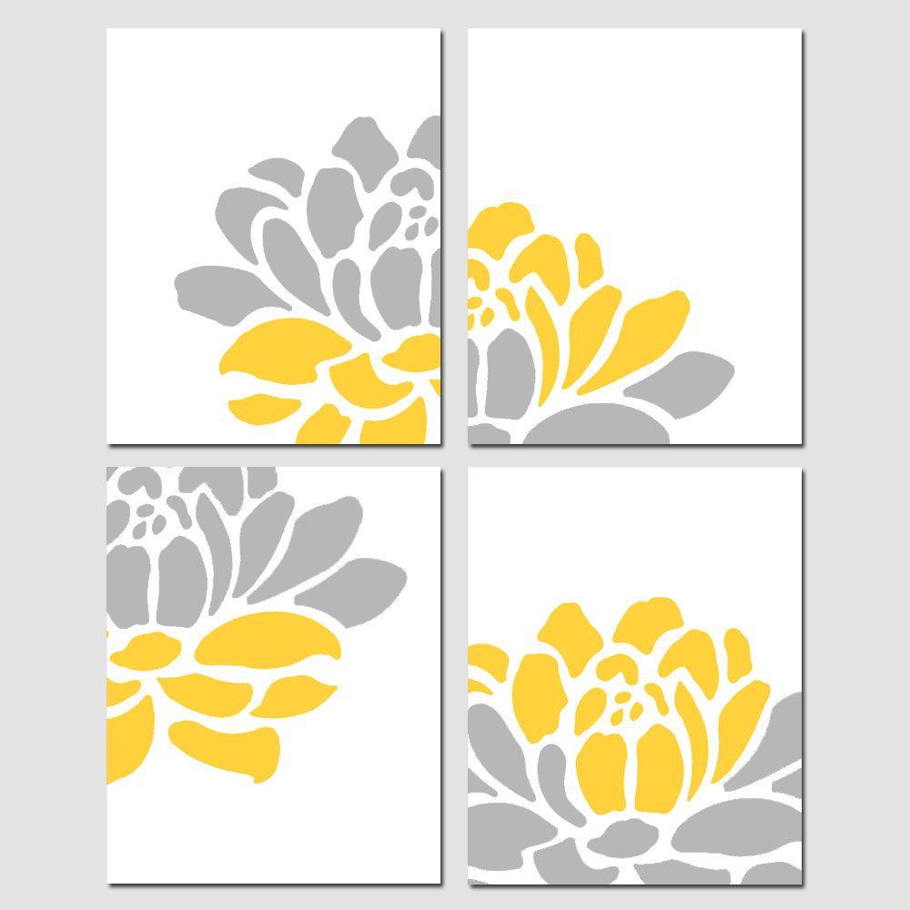 Floral Art Quad - Set of Four 11x14 Floral Prints - Modern Wall Art ...