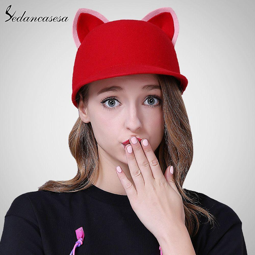 bc211e4bfd0 Sedancasesa New Autumn Winter Hat Female England Wool Felt Hat Retro Cloche  Hats Hot selling Warm Bucket Hats for women FW209001