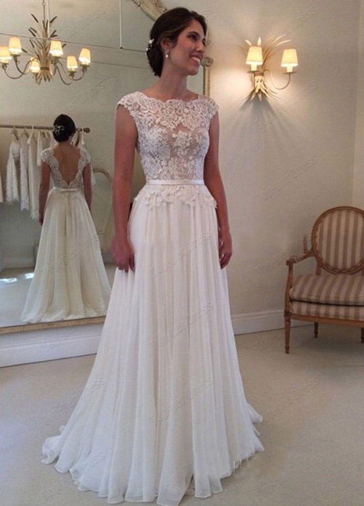 Backless White Ivory Wedding Dress Bridal Gown size custom 6 8 10 12 ...