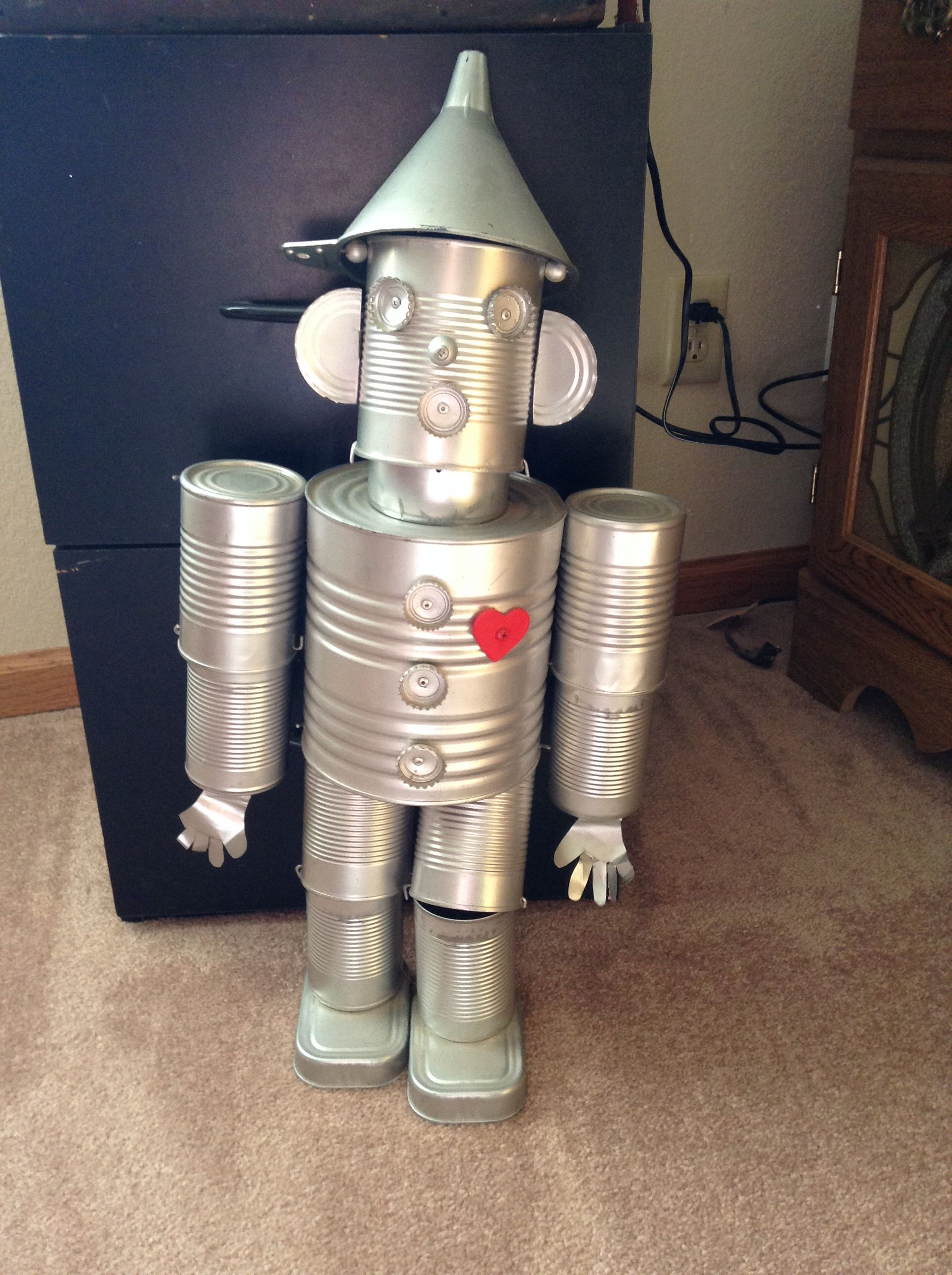 The Tin Man Made Out Of Different Sized Cans Bottle Caps