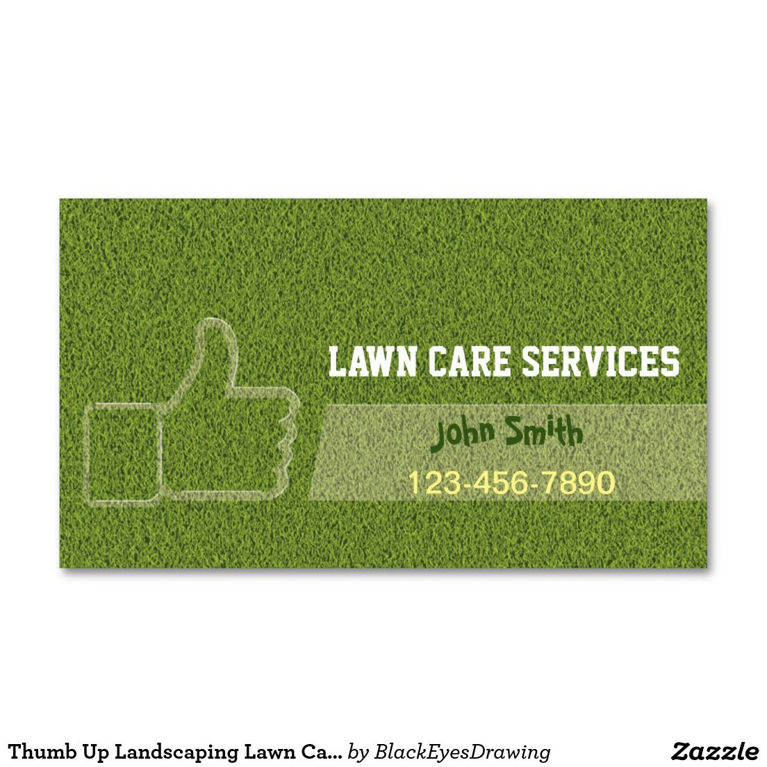 Thumb Up Landscaping Lawn Care Gardening Business Card | Business ...
