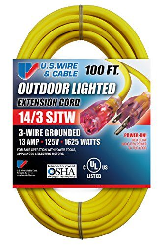 Amazon Com Us Wire And Cable 14 3 100 Feet Sjtw Yellow Lighted Extension Cord Patio Lawn Garden Extension Cord Cord Jar Chandelier