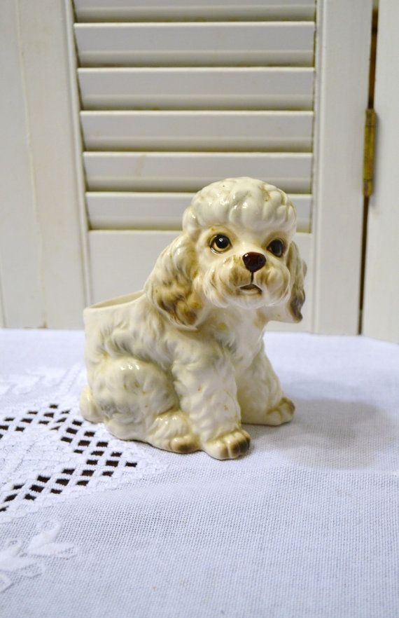 Vintage Poodle Planter White Ceramic Dog Pet Lover by PanchosPorch