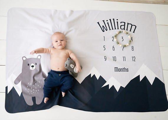 Baby Month Milestone Blanket- Mountain   Bear   Boy ...