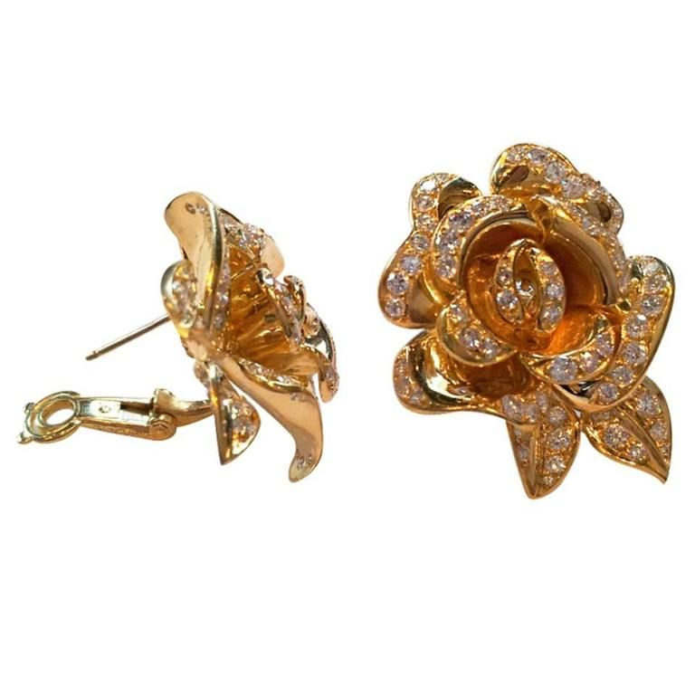 0c03bf2dbfe Marchak Diamond Gold Rose Flower Earrings