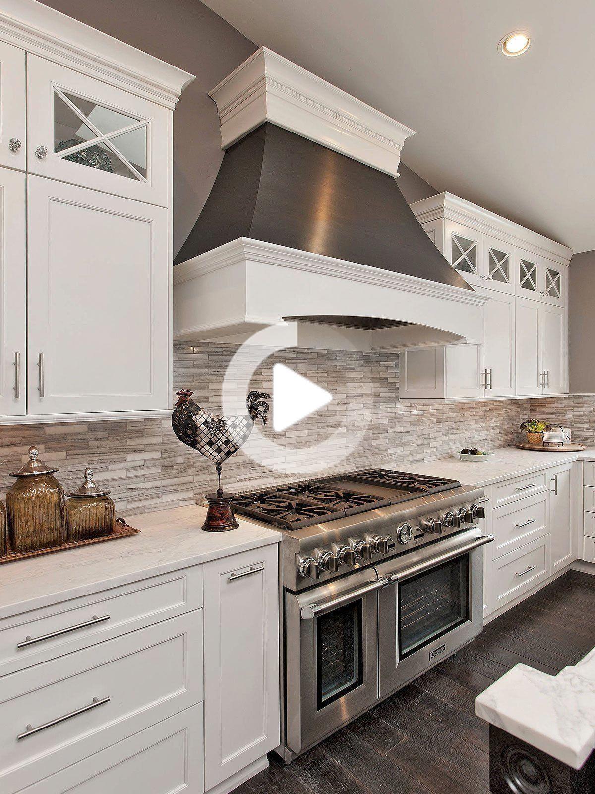 Modern White Gray Subway Marble Backsplash Tile In 2020 White Kitchen Design Kitchen Style Kitchen Layout
