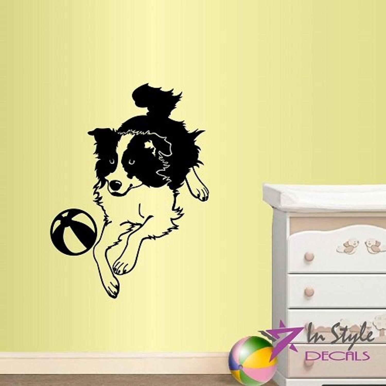 Wall Vinyl Decal Home Decor Art Sticker Cute Dog Puppy Playful Kids ...