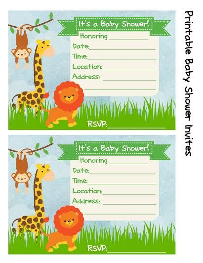 Baby Shower Invitation Jungle Theme Jungle theme, Free printable - printable baby shower invite