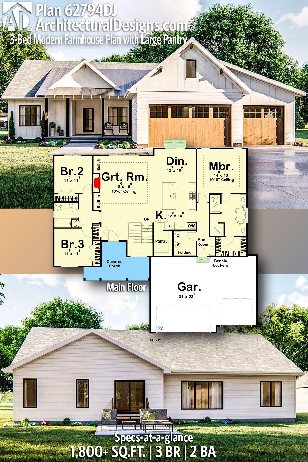 Plan 62794DJ: 3-Bed Modern Farmhouse Plan with Large Pantry #modernfarmhousestyle