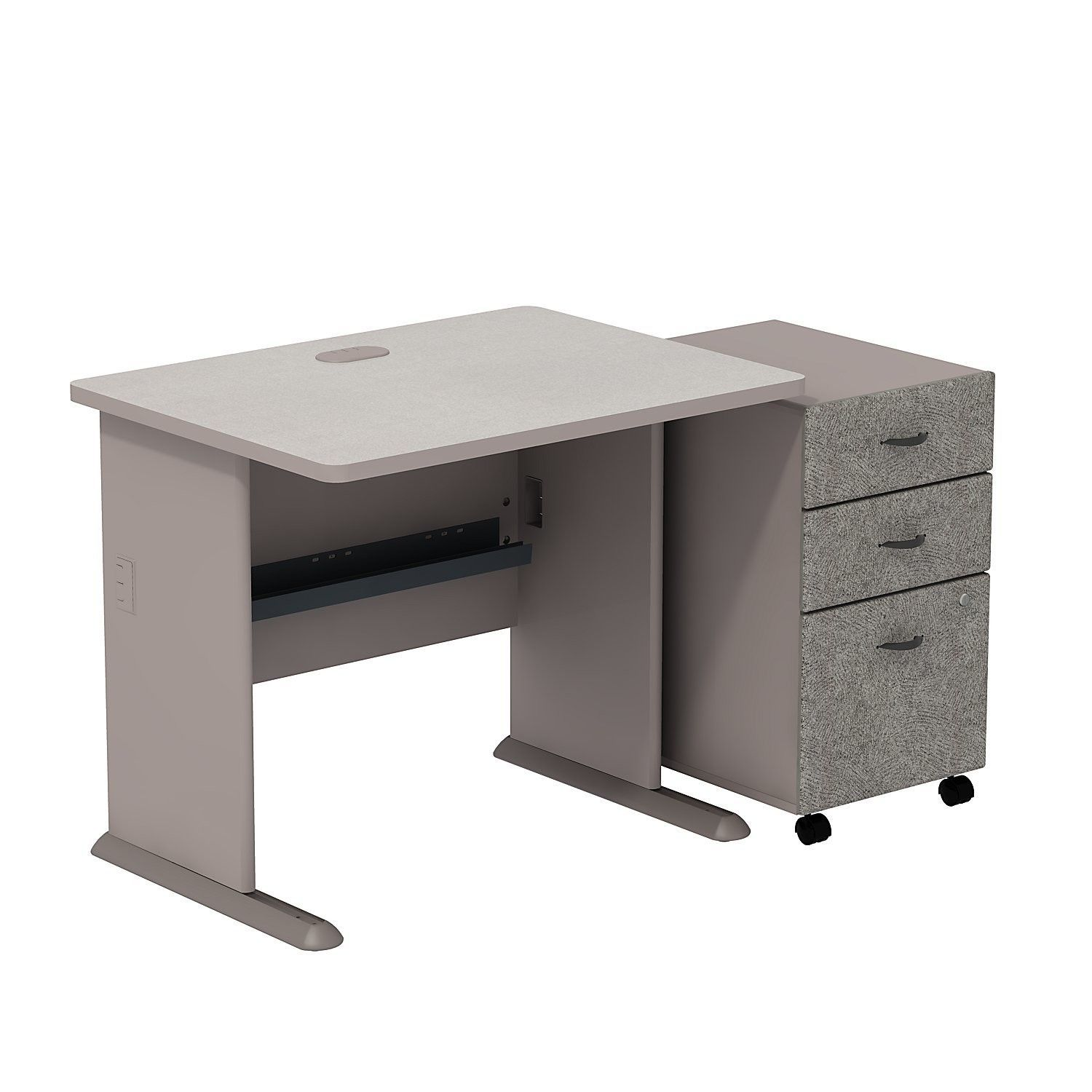 Series A Office Desk with 3-Drawer Mobile Pedestal