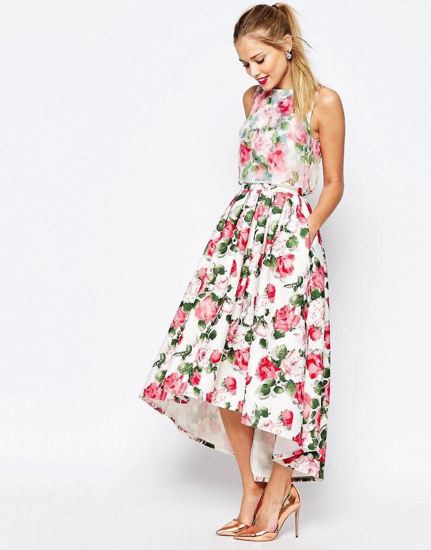 Bild 4 von ASOS SALON– Summer Rose – Mittellanges Organza-Kleid mit ...