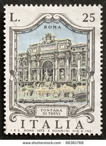 An Italian stamp shows illustration of Fontana di Trevi, the famous landmark in Rome. Italy, circa 1973