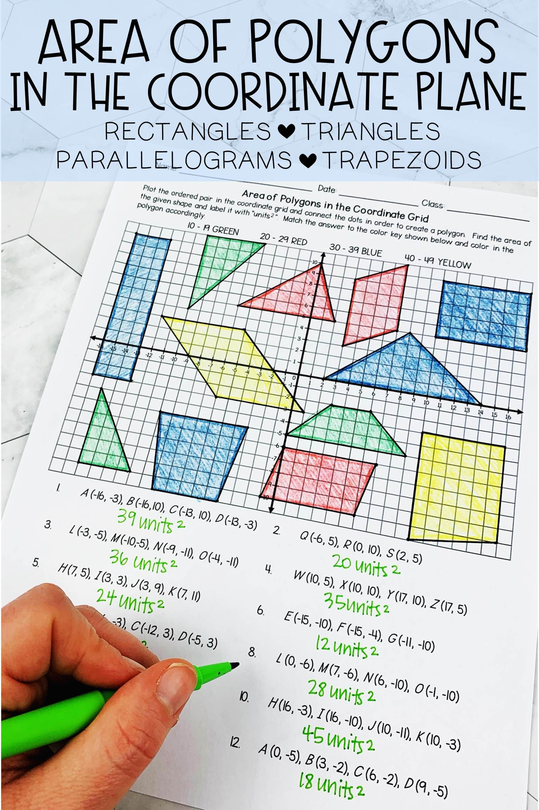 hight resolution of Area of Polygons in the Coordinate Plane Coloring Activity   Coordinate  plane