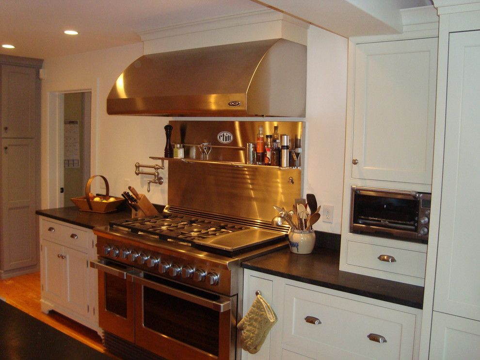 Built In Toaster Oven Kitchen With Beaded Inset Cabinets Built