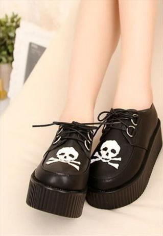 Black Punk Rock Style Skulls and Crossbones Platform Shoes