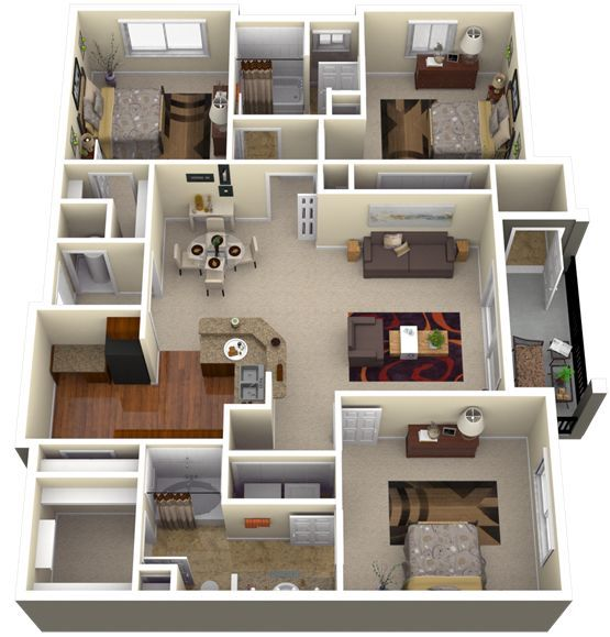 Awesome 3D Plans For Apartments Floorplans Pinterest