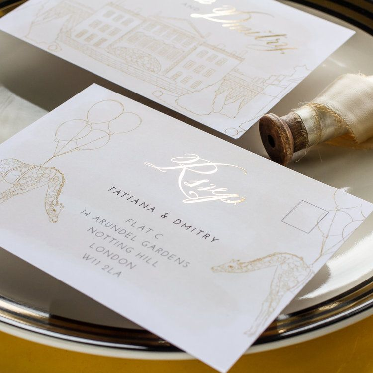 information on wedding invitation examples%0A Tatiana  u     Dmitry Unique Wedding Invitations Hand Illustrated with Gold Foil  Details   jpg