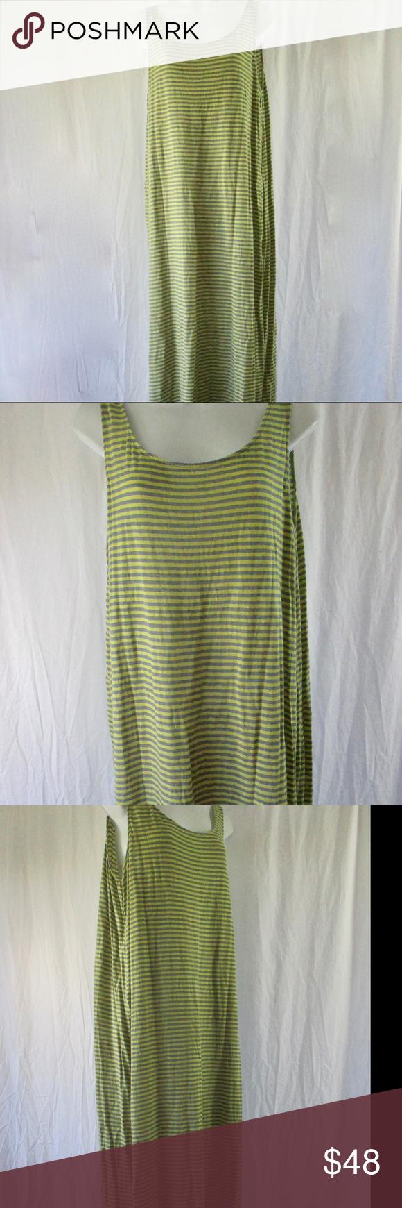ea6e8fd6df5a1f Eileen Fisher Linen Tank Dress Lg Yellow Gray Knit Wonderful Eileen Fisher  Knit Tank Dress Breezy