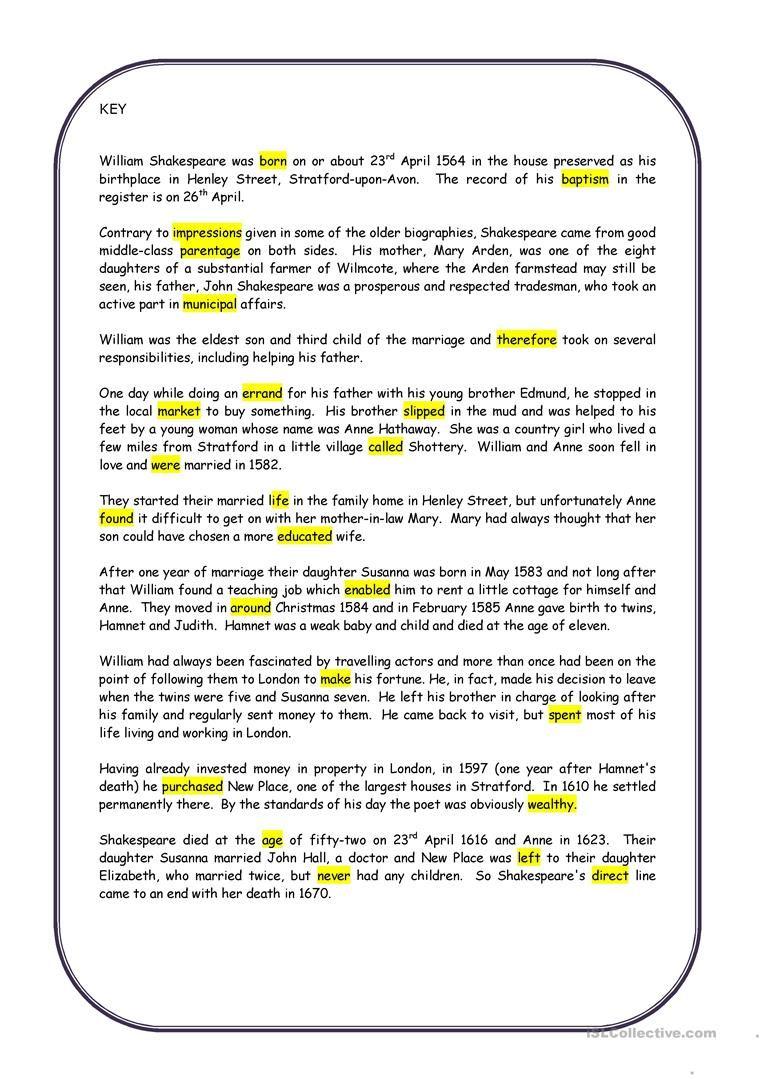 William Shakespeare Worksheet Free Esl Printable Worksheets Made By Teachers Word Problem Worksheets William Shakespeare Shakespeare [ 1079 x 763 Pixel ]