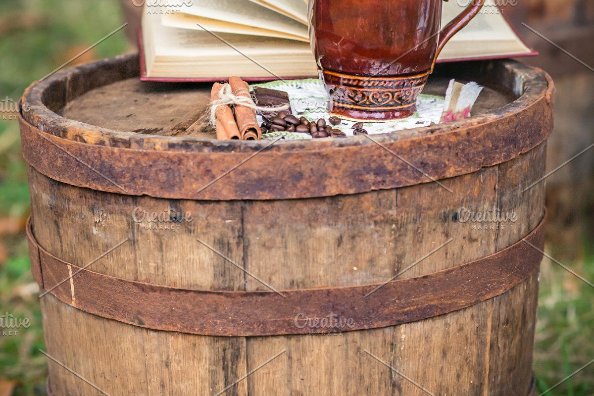 two cups of coffee #Sponsored , #paid, #coffee#cups#barrel#wooden
