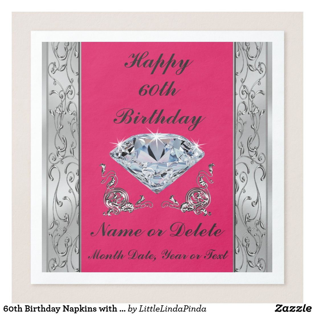 60th birthday napkins with your text and colors zazzle