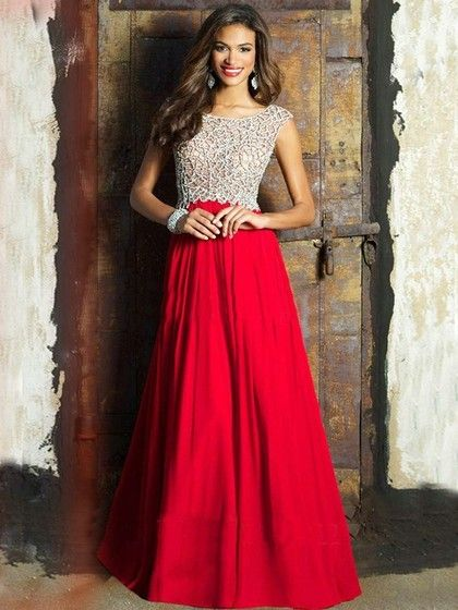 Red Chiffon Beading A Line Scoop Neck Affordable Prom Dress