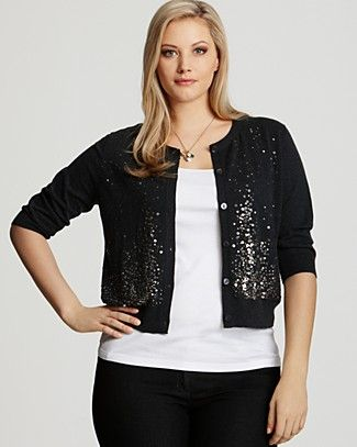 17527f3fbff363 Eileen Fisher Plus Size Sequined Organic Cotton/ Cashmere Cardigan ...