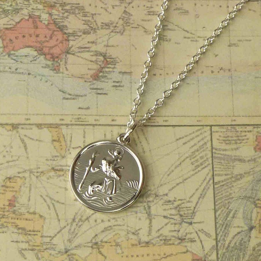 St christopher medal necklace saint christopher saints and men gifts st christopher medal necklace mozeypictures Gallery
