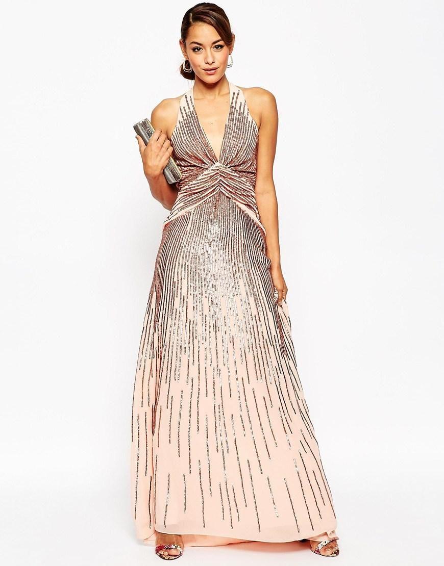 Asos asos red carpet us deep plunge rose sequin maxi dress at