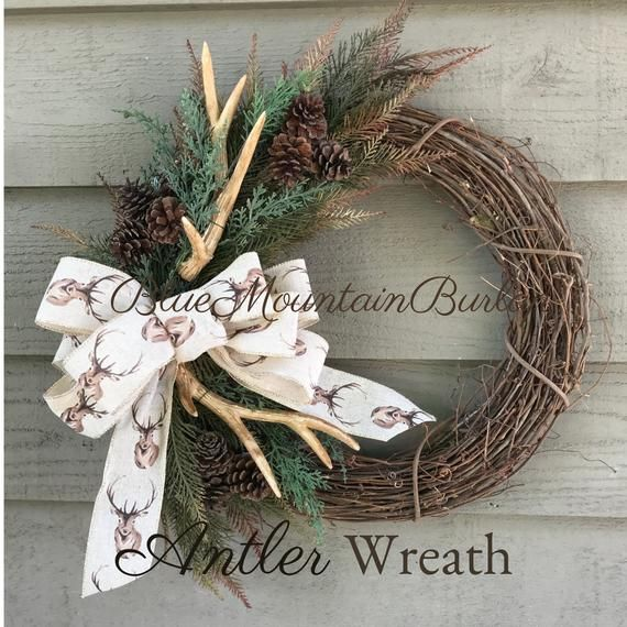 Photo of Items similar to The Antler Hunting Grapevine Wreath, Fall Wreath, Front Door Wreath, Rustic Wreath, Hunting Lodge Wreath, Hunting Wreath, Antler Wreath on Etsy