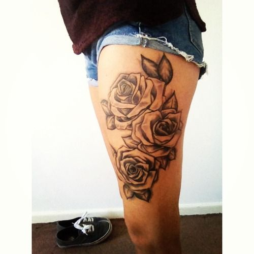 leg tattoos for girls designs roses thigh tattoo designs ...