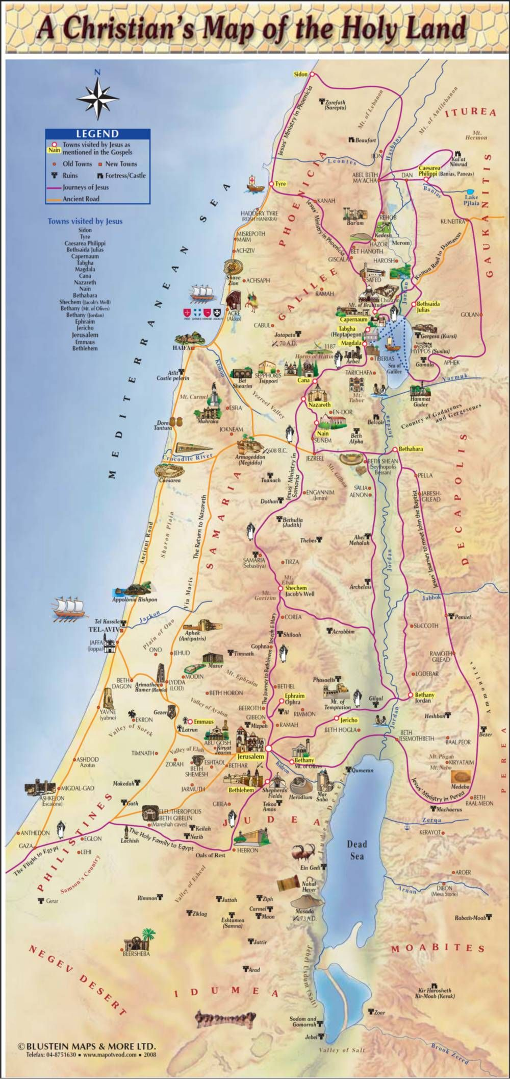 a christian's map of the holy land. history books  israel bible and pilgrimage