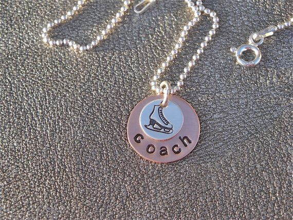 Ice Skate Coach or Ice Skate Mom Personalized Hand Stamped Necklace with Skate Charm - Ice Skating Charm Necklace