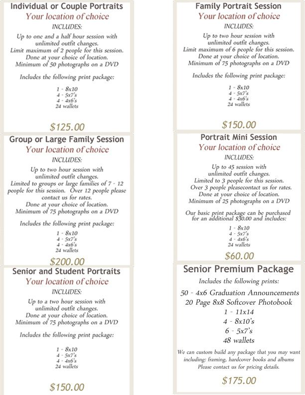 Insert Your Own Photo Packages On Our Customizable Pricing Sheet
