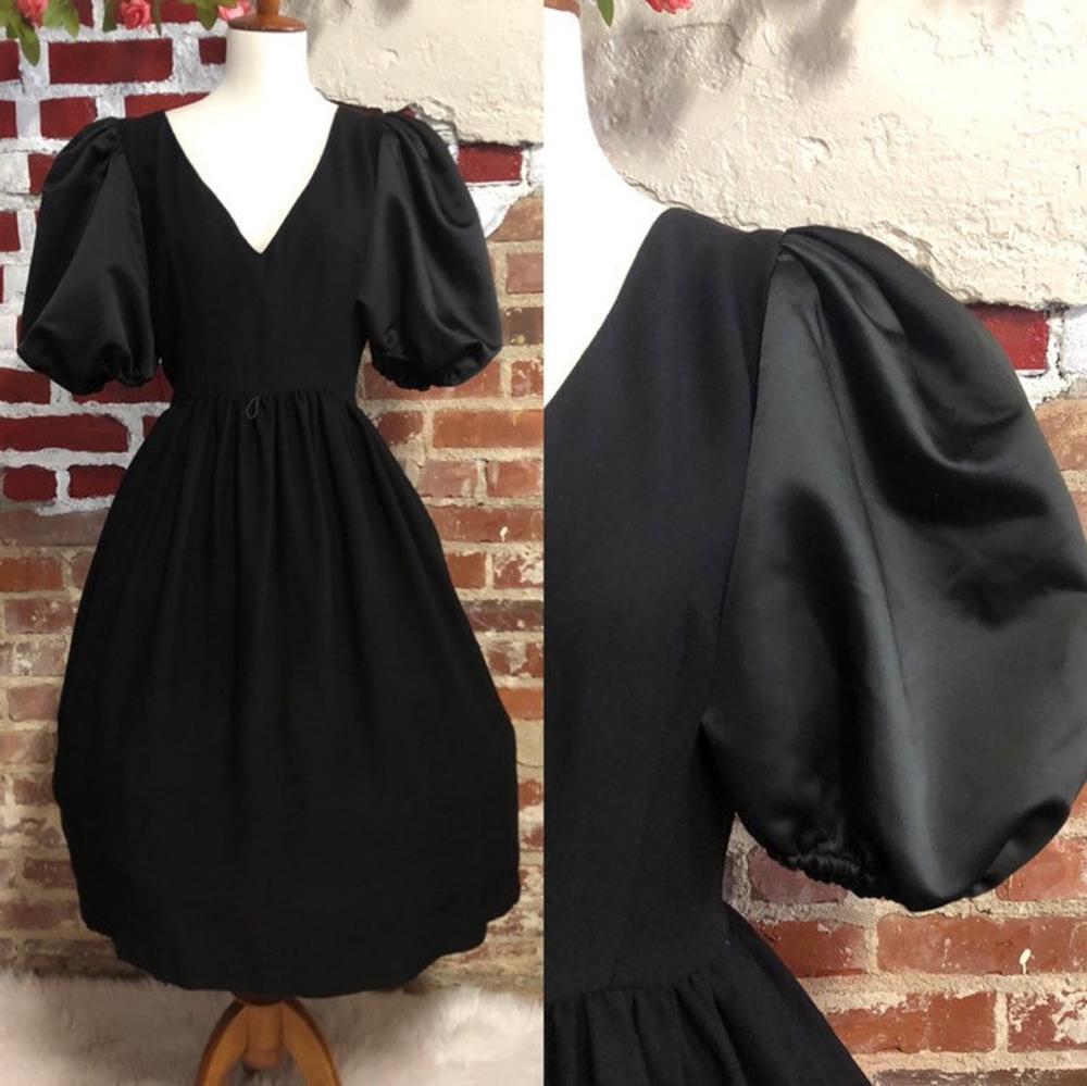 Vintage 80s black puff sleeve goth princess tea length