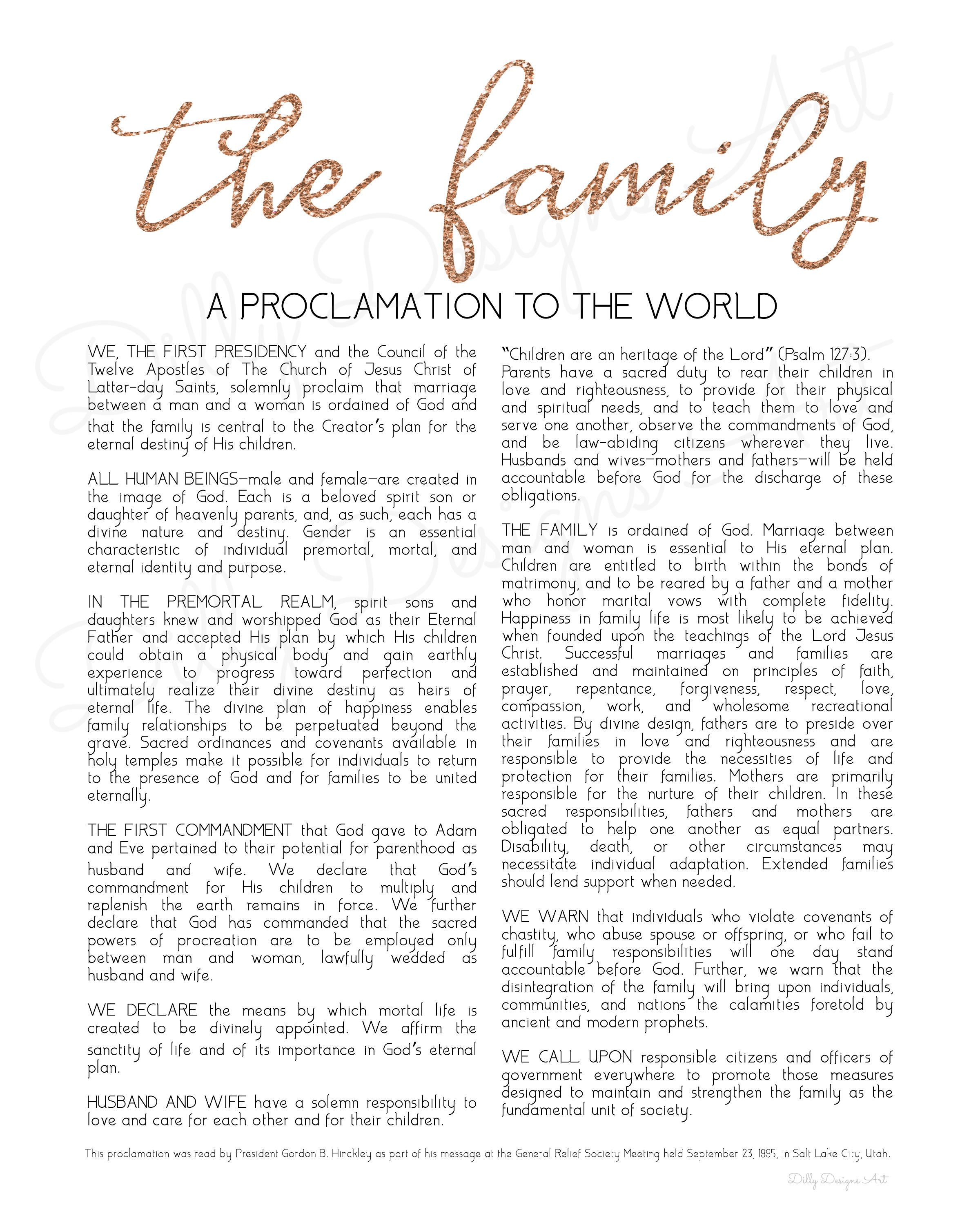 picture about Family Proclamation Printable identify Pin through Dilly Strategies Artwork upon Ground breaking Relatives Proclamation inside of