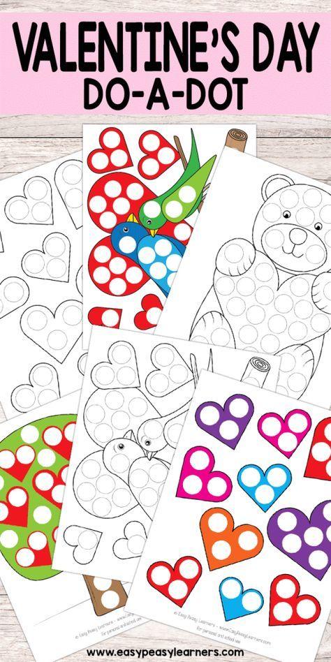 Free Printable Valentines Day Do A Dot Worksheets Ot Pinterest