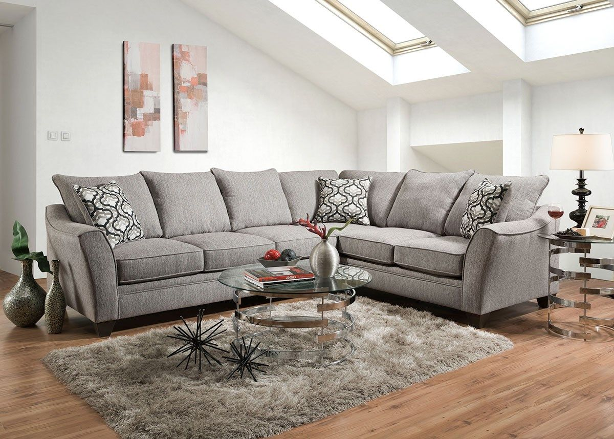 Dante Light Gray 2 Pc Sectional Reverse The Roomplace Furniture Harlem Furniture Light Gray Sofas #the #room #place #living #room #sets