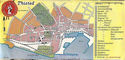 Map Of Thisted Denmark 1939 Kort Over Thisted Danmark 1939