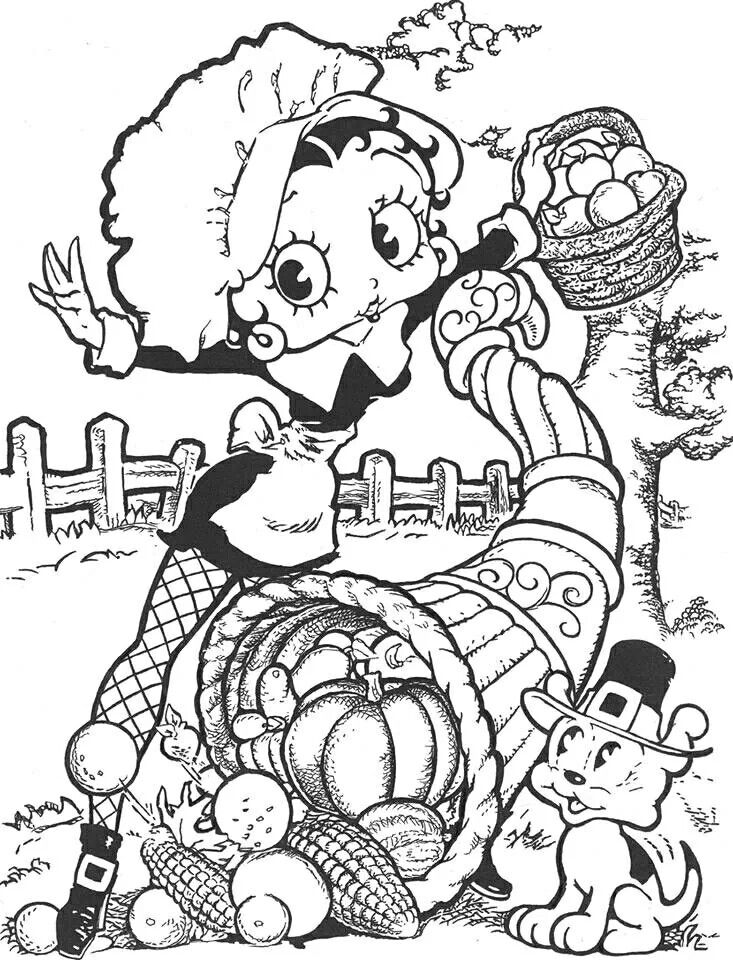 Betty Boop Thanksgiving Coloring Sheet