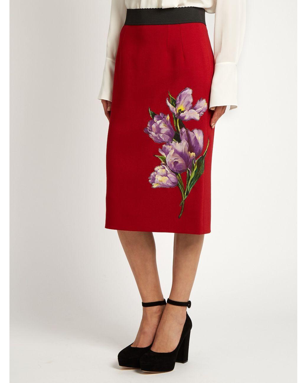 Buy Dolce   Gabbana Women s Multicolor Tulip-appliqué Stretch-wool Pencil  Skirt f17c006dbdb8