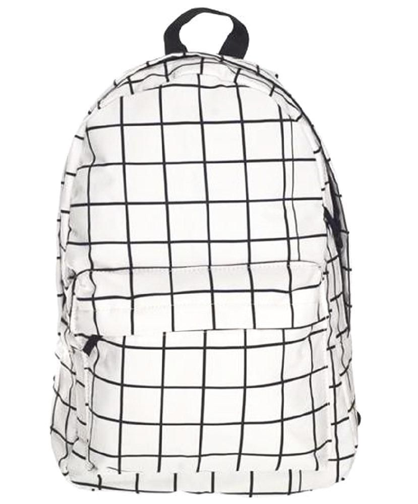 White on Black Cotton Rucksack Tote Shopper College School Bag Line Drawing Faces Print Cotton Backpack