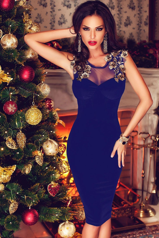a8a9e50f6b2 Blue Lace-up Back Floral Detail Velvet Midi Dress