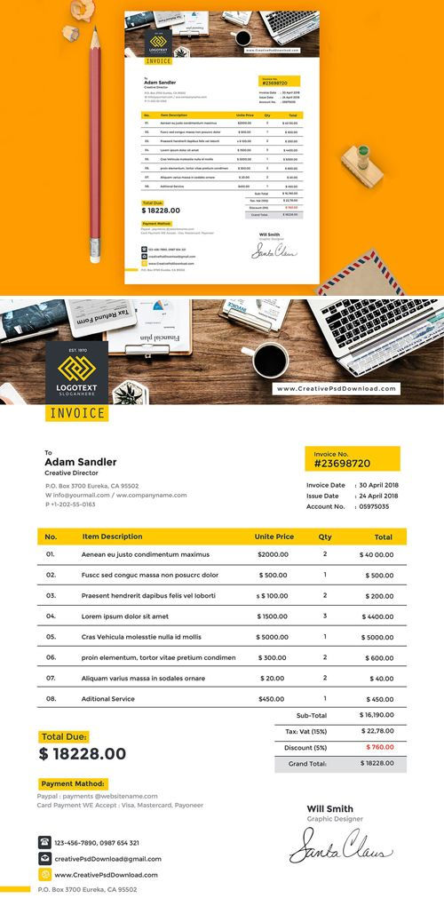 A4 Invoice Psd Template Pinterest Psd Templates A4 And Template